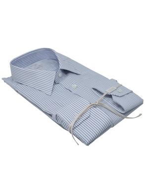 Blue stripe shirt Italian collar