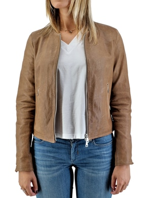 Light brown leather biker