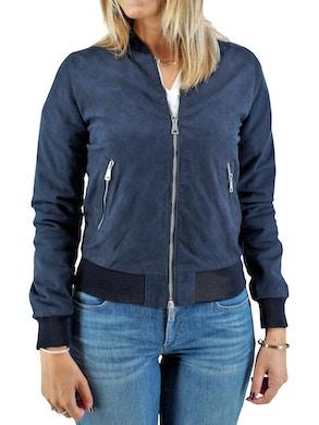blue suede bomber jacket