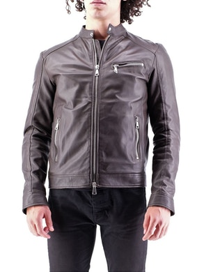 Dark brown leather biker