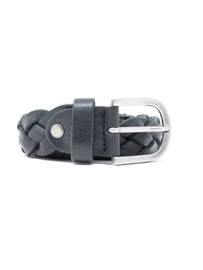 Braided leather belt black colored