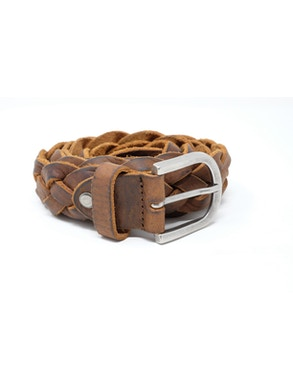 Braided leather belt brown colored