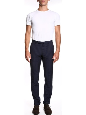 Blue trousers with bordeaux line