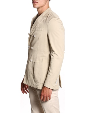 Beige stretch double breasted jacket