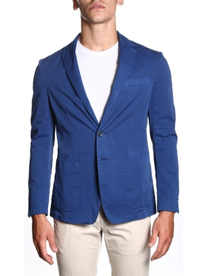 Blue stretch single breasted jacket