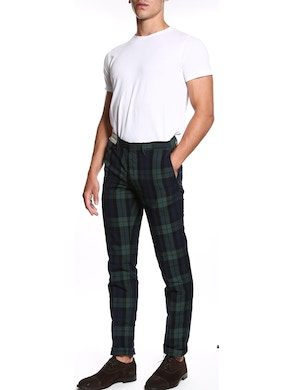 Blue and green plaid trousers