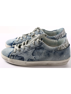 Denim sneakers with strass inserts