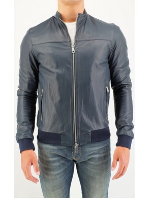 Blue leather bomber
