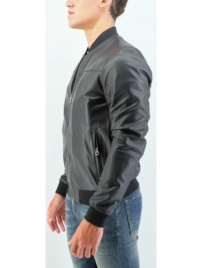 Black perforated bomber