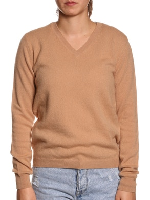 100% CASHMERE V-NECK SWEATER – BROWN