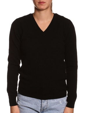 100% CASHMERE V-NECK SWEATER – BLACK