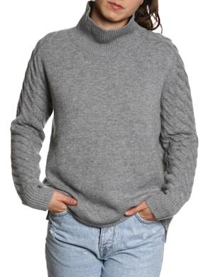 100% CASHMERE TURTLENECK SWEATER – Grey