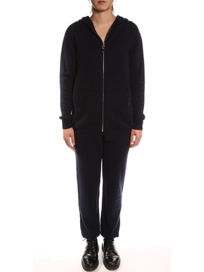 Sweatsuit with sweatshirt and trousers in pure cashmere - Blue