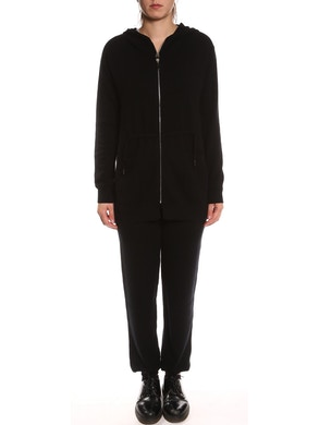 Sweatsuit with sweatshirt and trousers in pure cashmere - Black