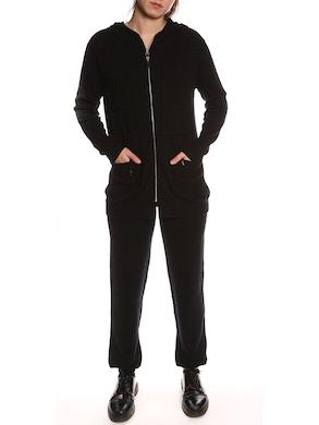 Tuta con felpa e pantaloni in puro cashmere - Nero