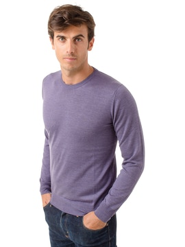 violet round collar sweater