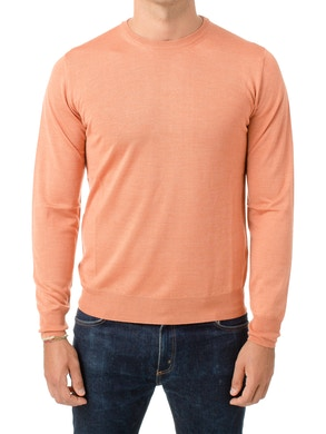 salmon round collar sweater