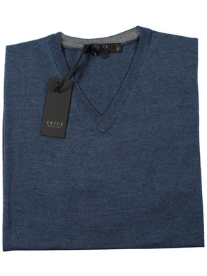 denim v-neckline sweater