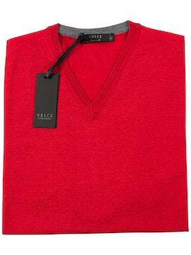 red v-neckline sweater