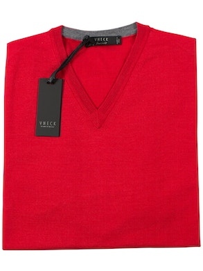 red v-neckline sweater