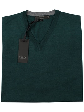 green v-neckline sweater