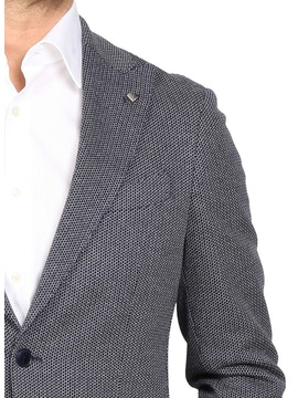 Blue geometric design jacket