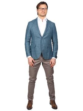 teal color Checked design jacket reda