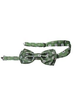 Green gemetric design bow tie