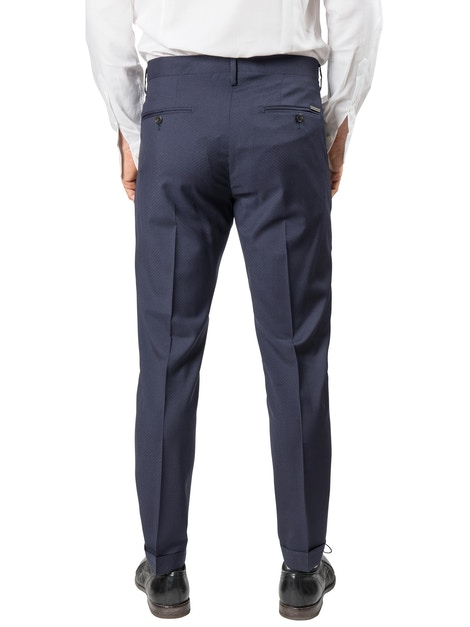 Blue trousers with geometric design