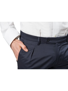 Navy blue trousers with pence