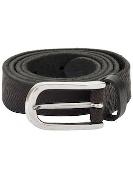 Black carved belt with geometric design