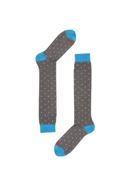 Turquoise/Light Grey High Sock with White Dots