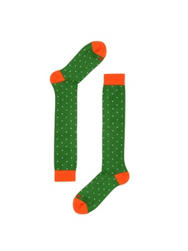 Orange/Green High Sock with White Dots