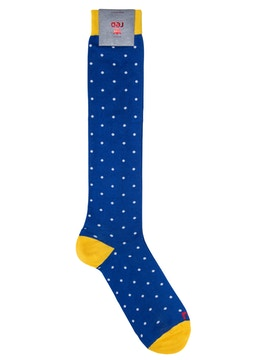 Yellow Blue High Sock with White Dots