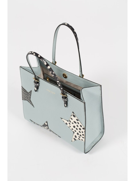 Baby blue handbag in real calf leather