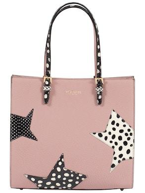 pink handbag in real calf leather