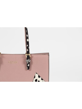 pink handbag in real calf leather