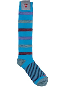 turquoise High Sock Slub Stripes