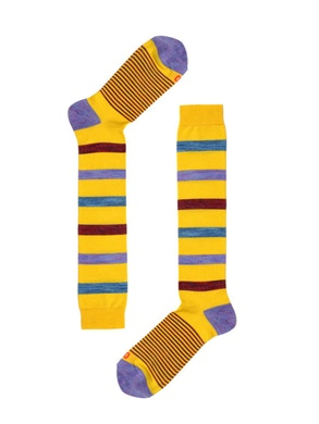 yellow High Sock Slub Stripes