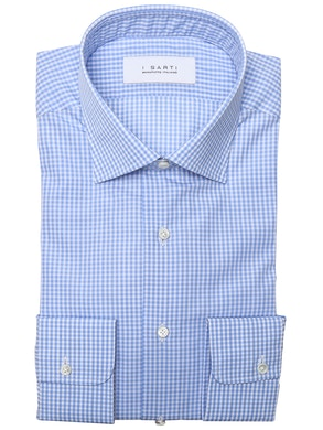 Light blue shirt with checked design