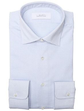 geometric design light blue and white shirt