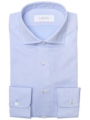 light blue geometric design shirt