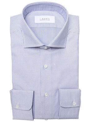 geometric design light blue shirt