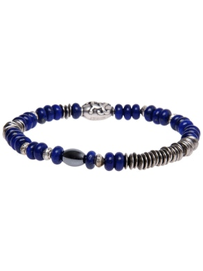 Bracelet with Lapis lazuli and Anthracite Hemite