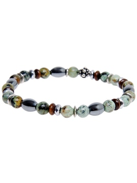 Silver Bracelet with African Hard stones