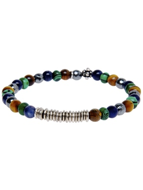 Bracelet Eye of the tiger with Lapis Lazuli, Malachite and Hematite