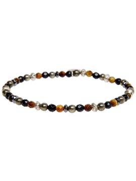Bracelet with tiger eye, onyx pyrite and anthracite colored hematite