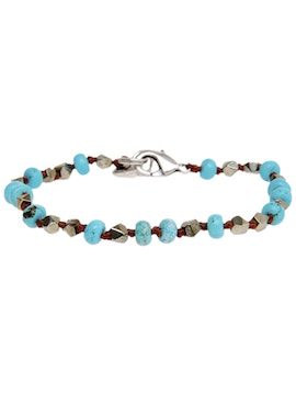 Bracelet with hard magnesite and pyrite stones