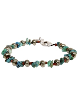Bracelet with turquoise hard stones and pyrite.