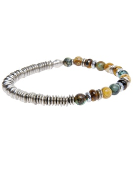 Bracelet with Tiger Eye stone and African stone
